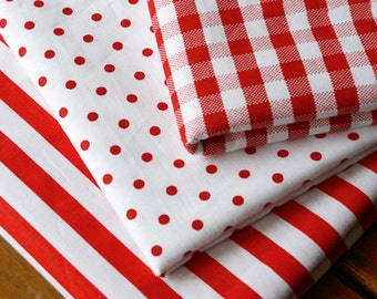 Red White Cotton Fabric, Red Polka Dots Plaid Stripes Cotton- 1/2 yard