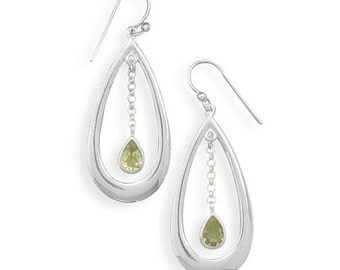 50% OFF SALE Cut out polished design earrings feature a peridot drop from chain, peridot earrings,sterling silver 64489