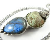 the frog prince - tibetan turquoise & labradorite crystal pendant
