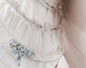 Rare! Antique ruffled linen theater petticoat hoop skirt silk ribbonwork corsage shabby french nordic costume chic