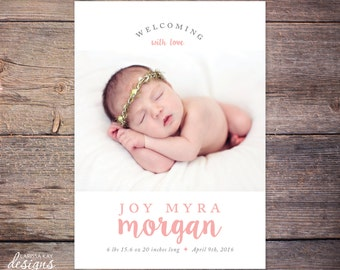 Birth Announcement, New Baby Announcement, Baby Girl Announcement, Baby Boy Announcement, Card, DIY, Printable, Custom – Joy