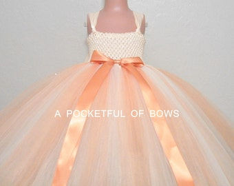 Ivory and Peach Flower Girl Dress, Peach Tulle Dress, Long Peach Flower Girl Dress, Peach Ball Gown
