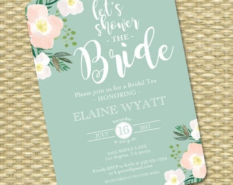 Bridal Shower Invitations, Bridal Shower Invite, Blush Pink & Mint Boho Bridal Shower Invitation, Rustic Floral Wedding Shower Invite