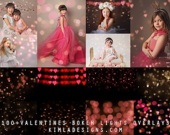 100+ Valentines Bokeh Photo Overlays + 2 Free gifts, Creative Photo Overlays for Photographers, Bundle Pack
