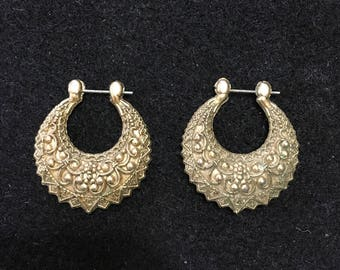 Vintage Ornate gold tone  hoop style pierced Earrings