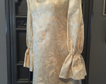 60s Winter White Gold Brocade Mini Dress