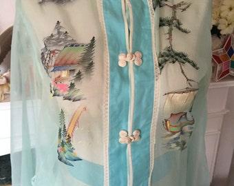 30s 40s Hand Painted Sheer Silk Pajamas