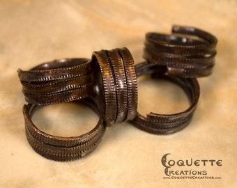 Aged Grooved Spiral Copper Ring