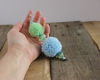 Valley Clouds Pom Pom Puff Ball Purse Bag Handbag Planner Zipper Charm Pull, Key Fob Keychain Keyring