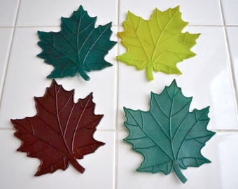 Set of 4  Plastic 1960's Maple Leaf Coasters.  Autumn Colors. Green.  Chartreuse. Brown. Vintage 1960's Decor. - VD46