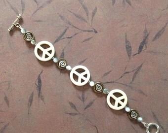 Peace Sign Bracelet White Magnesite Peace Signs Bracelet