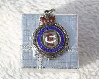 1931 Solid Silver Masonic Blue Enamel Medal Pocket Watch Fob Portland Lodge