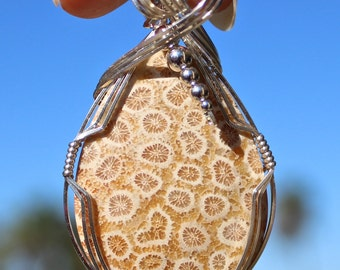 Fossil Coral Pendant, Argentium Sterling Silver Wire Wrapped Pendant, Fossil Coral Jewelry, Fossil Coral Necklace
