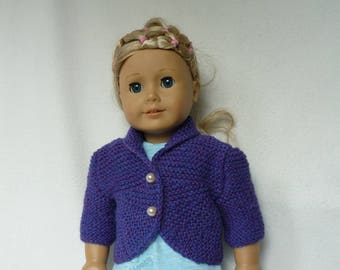 "Hand Knitted Bolero Jacket in Deep Purple for 18"" Doll  (American Girl, Similar) - Ready to Ship"