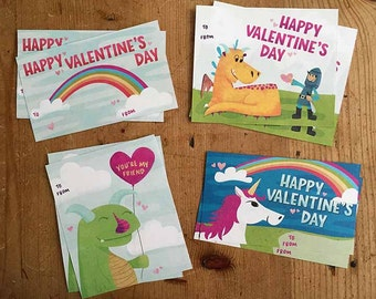Printable Cute Monster Dragon Knight Unicorn Rainbow Valentines for Kids and Adults