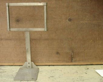 vintage 20's metal general store sign holder stand, advertising display