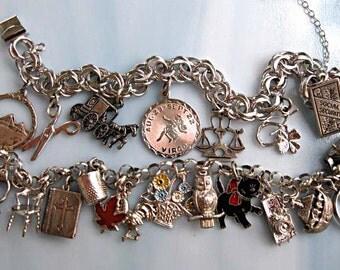 Sterling Charm Bracelets, Twenty Charms Enamel, Articulated, Figural Novelty, Travel, Virgo, Bible, Tankard, Cat, Owl, Flowers, Mixed Theme