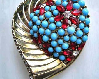 Sterling Heart Fur Clip, Marcel Boucher MB Gold Vermiel Brooch, Turquoise and Red Glass Flowers, Phrygian Cap Mark, Vintage 1940s Boucher
