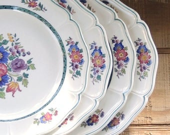 Wedgwood Floral Salad Plates Set of 4 English Transferware Plates Ironstone, Tea Party Replacement China