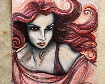 XMen, Jean Grey, Phoenix, Colored Pencil Drawing, Original Art, Red Hair, Fan Art,
