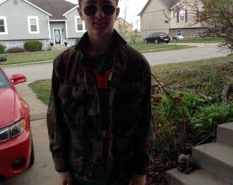 Vintage hipster military camouflage jacket size small free domestic shipping