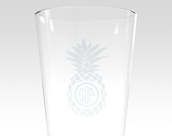 Monogram Pineapple Etched Pint Glass