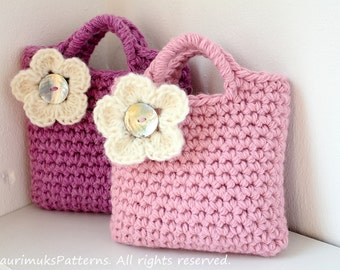 CROCHET PATTERNS for kids - little girls flower bag purse pattern  - Listing90