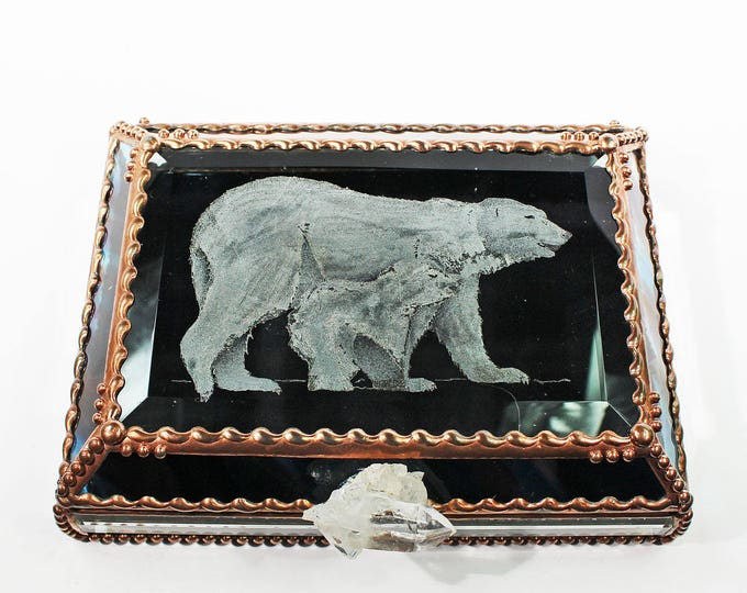 Etched, Hand Painted, Polar Bear, Stained Glass Box, Jewelry Box, Keepsake Box, Arctic, Bear