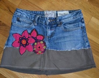 Upcycled Jean Hippie skirt....American Rag.....size 3...