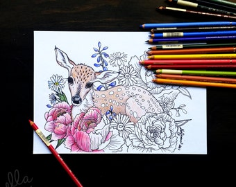 Fawn Bouquet - Adult Coloring / Colouring Page by ellaquaint