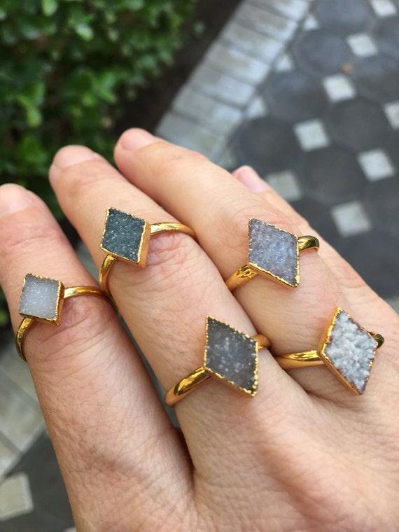 Diamond Druzy Rings