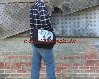 Black Canvas Messenger Bag Grey Steampunk Crow Tree Clock Face Melting Time A534