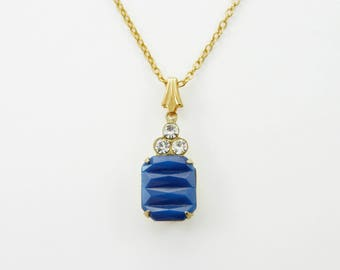 Art Deco Cobalt Glass Necklace