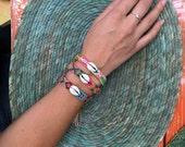 Neon & Shell Friendship Bracelet  - 12 Strings (019s)