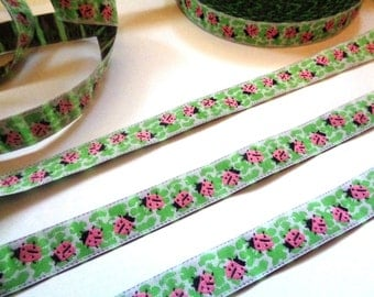 Jacquard Embroidered Ladybug Ribbon, Multi / Pink, 9/16 inch wide, 1 yard, For Home Decor, Accessories, Apparel, Mixed Media, Gifts