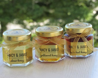 Honey Favors for Wedding and Bridal or Baby Showers  2 oz Hex Jars  24 Count Featuring 3 Different Flavors Meant to Bee