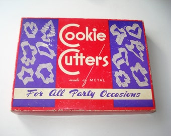 Vintage Cookie Cutters - Assorted For All Party Occasions - Retro Kitchen 1960s - Biscuit Cutters