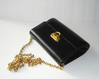 Black Patent Purse -  Evening Day Clutch Bag - Small with Gold Chain  -  1980s Holt Renfrew