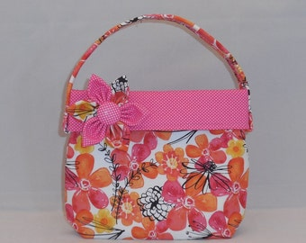 Orange And Pink Floral Little Girls' Fabric Purse With Detachable Fabric Flower Pin
