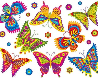Butterfly Clipart - Digital Vector Butterfly, insect, Tropical, Garden, Nature, Butterfly Clip Art for Personal and Commer