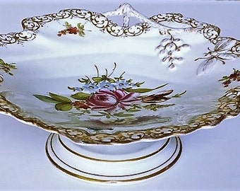 Vintage Germany Porcelain Compote, grape leaf pedestal china dish, hard to find