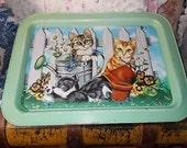 Metal Lap Tray,Sweet Kitten Small Folding Tv Tray ,Lap Tray,Bed Tray,Slumber Parties, Vintage Tray,Vintage Kitchen,Kitten Tray