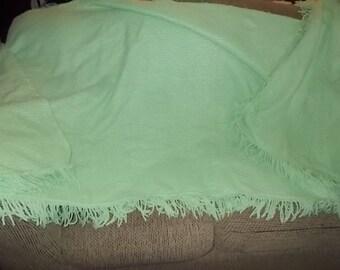 Chenille Blanket Bead Spread, Bed Spread Light Green, Vintage Bead Spread, Vintage Bedding, Bedroom Decor 78x97 Inches