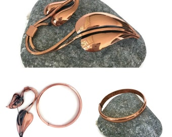 Renoir Copper Vining Brooch and Bangle Bracelet Set, Modernist Jewelry Set, Christmas Gift, Signed Renoir Jewelry
