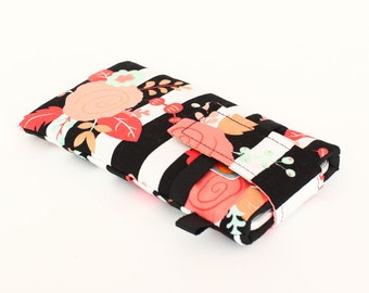 Floral iPhone 7 Plus Sleeve, Samsung Galaxy S7 Case, Women's Cell Phone Pouch, OnePlus - coral, gold, aqua roses black white stripes