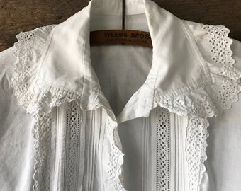 French Chemise Shirt Blouse Linen, Lacy Ruffles, French Country Farmhouse