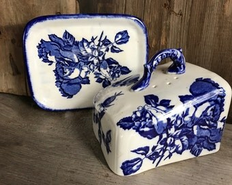 English Staffordshire Flow Blue Ironstone Cheese Dish, Cheese Butter Keep, Blakeney Pattern