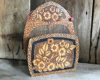 1930s French Folk Art Wooden Wall Pocket, Floral Pokerwork Design, Mail Box, Utensils Box