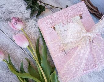 Fairytale Wedding Guest Book,Soft Pink, Gold, Photo album, Shabby Chic Wedding, Custom Wedding Photo Booth album