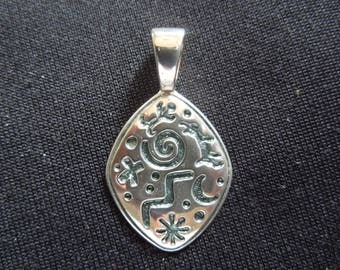 Vintage Silver Pendant, Patterned, Stamped 925 for Sterling Silver.  Unusual Piece